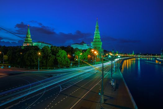 Photo free Moscow Kremlin, Moscow River Illuminated in the Evening, Russia