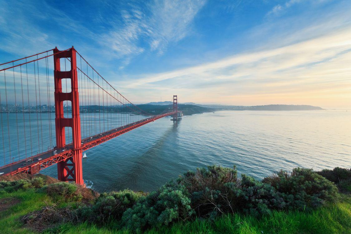 Фото бесплатно Мост Золотые Ворота, Сан-Франциско, Golden Gate Bridge, закат, пейзаж, пейзажи