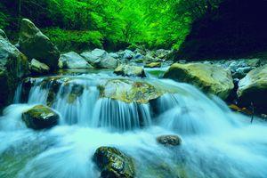 Заставки Япония, камни, водопад