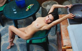 Фото бесплатно киска, стол, коричневые линии