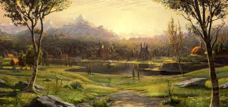 Фото бесплатно фантастический пейзаж, горы, деревья