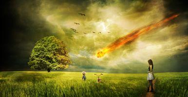 Бесплатные фото закат,поле,метеорит,девушка,ребёнок,небо,птицы