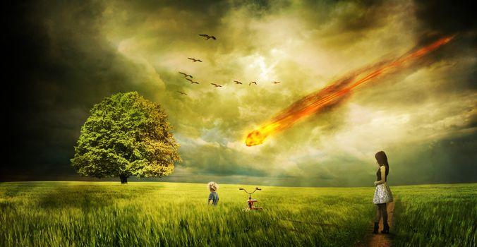 Фото бесплатно закат, поле, метеорит