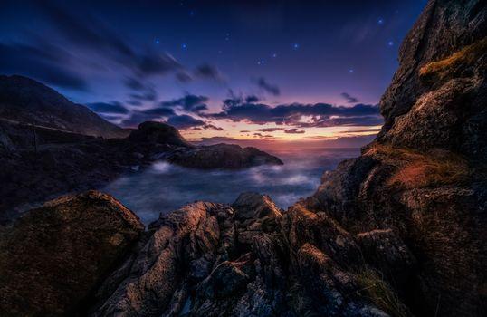Ночь на морском берегу