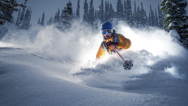 Фото бесплатно горнолыжный спорт, мужчина, лыжи