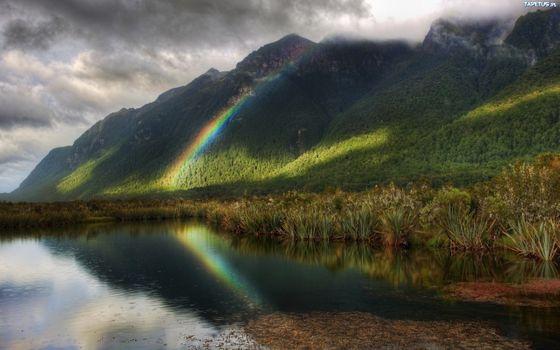 Фото бесплатно Mountain, rainbow, landscape