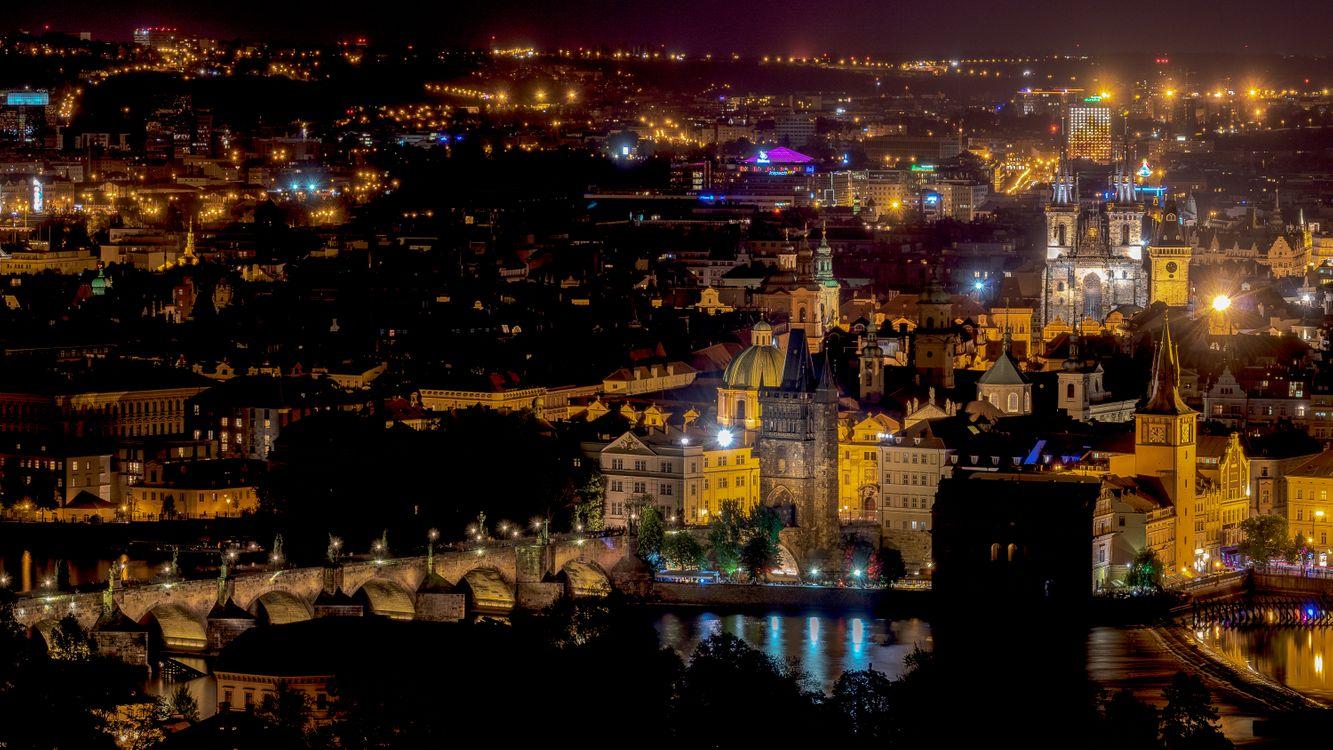 Фото бесплатно Прага, Чехия, Чешская Республика, Prague, Czech Republic, Пражский град, город, дома, мосты, иллюминация, ночь, ночные города, город