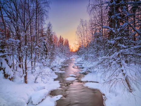 Photo free Frozen landscape in Sweden, winter, river