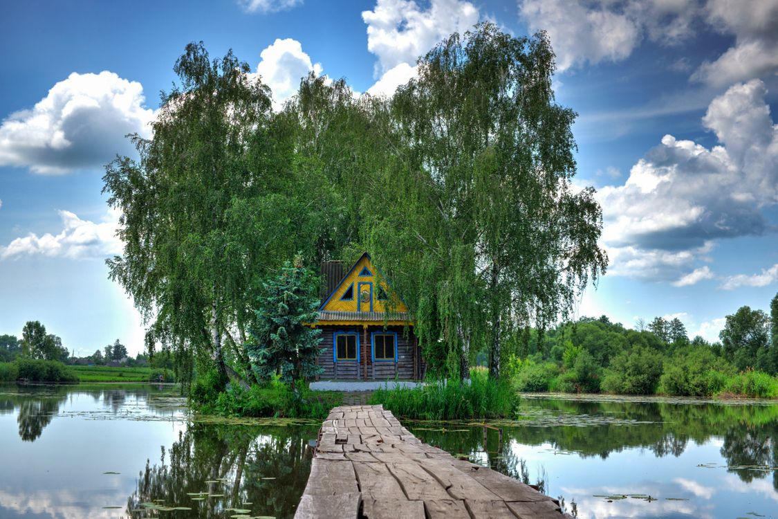 Фото бесплатно Озеро, домик, деревня - на рабочий стол