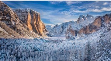 Бесплатные фото Йосемити национальный парк,Калифорния,горы,зима,деревья,водопад,пейзаж