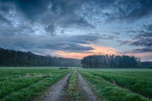 Заставки закат солнца, поле, дорога