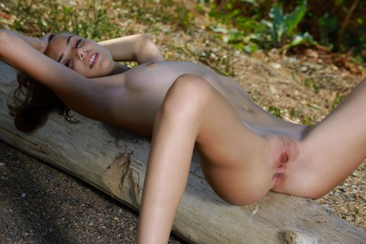 Ellie tan naked on a log