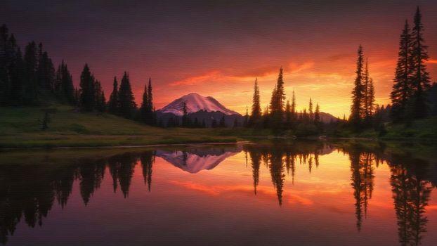 Фото бесплатно озерная живопись, отражение, гора