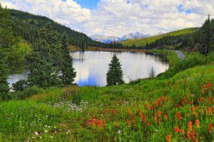 Бесплатные фото озеро,дорога,люди,река,холм,горы,холмы