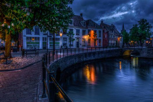 Photo free Canal, night cities, Amersfoort