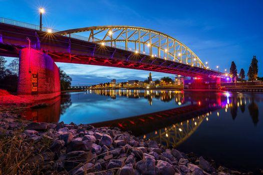 Бесплатные фото Мост Джона Фроста,Арнем,Рейнский мост,Рейн,Гельдерланд,Нидерланды,сумерки,иллюминация