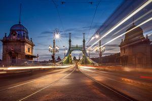 Фото бесплатно Будапешт, ночь, мост