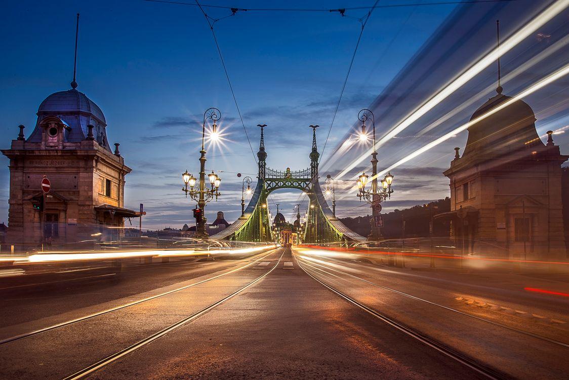 Фото бесплатно Будапешт, ночь, мост - на рабочий стол