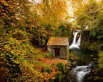 Заставки осень,Rydal Mount,Rydal Hall,Cumbria,Lake District,Grotto waterfall,водопад,лес,деревья,природа,пейзаж
