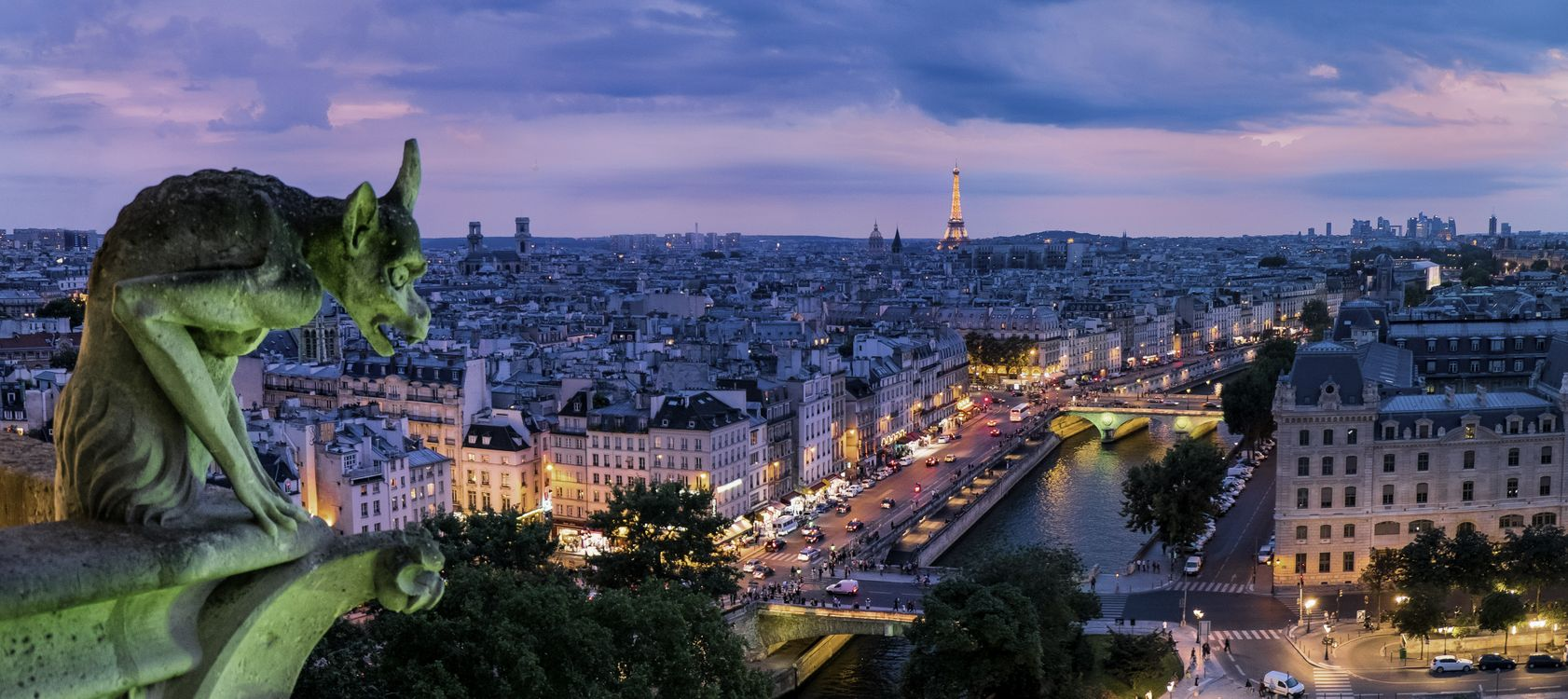 Фото бесплатно Париж, Франция, город, ночь, иллюминация, Эйфелева башня, сумерки, панорама, город
