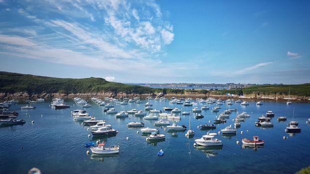 Заставки видеть,лодки,голубое небо,океан,брест,франция,бретань,порт,Ле-Конке,водный путь,небо,марина