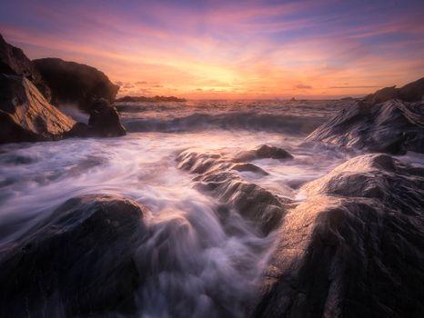 Бесплатные фото Корнуолл,Юго-Западная Англия,море,пляж,закат,скалы,волны,пейзаж