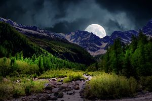 Фото бесплатно луна, горы, небо
