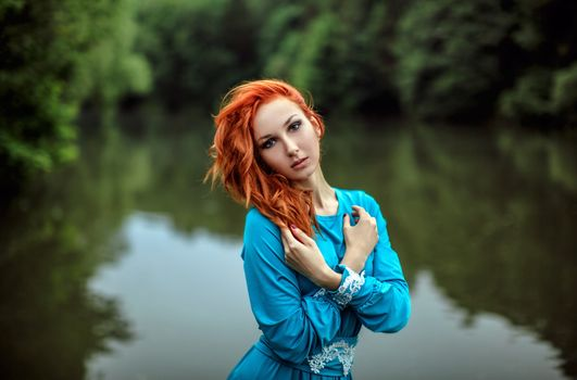 Photo free redhead, blue dress, river