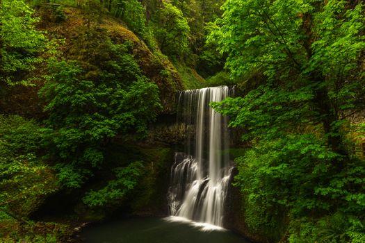 Бесплатные фото водопад,лес,деревья,поток,течение,зелёный,лето,природа,пейзаж