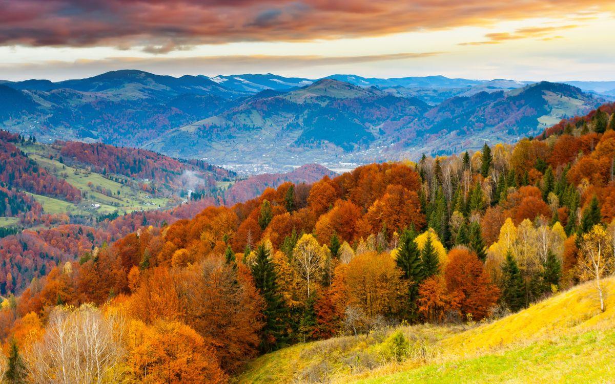 Фото бесплатно осень, красиво, облака, пейзаж, горы, небо, закат, деревья, зима, пейзажи - скачать на рабочий стол