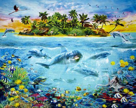 Фото бесплатно черепаха, рыба, рай