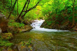 Фото бесплатно магическая река, течение, водопад
