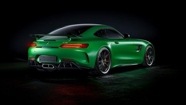 Photo free cars, green Mercedes, rear end