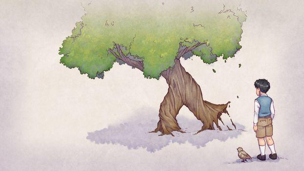 Бесплатные фото история птиц,птицы,деревья,дети,видеоигры