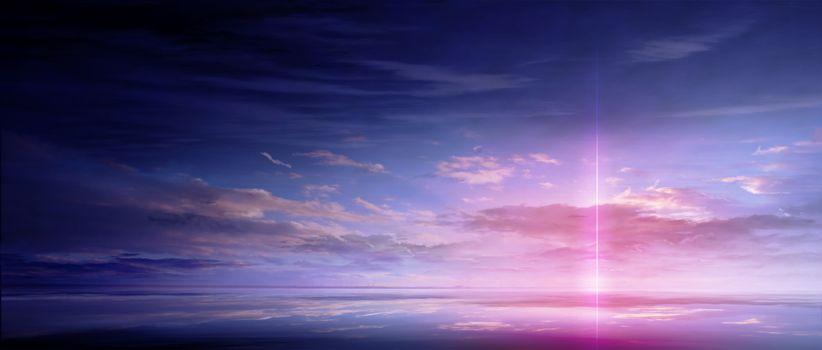 Заставки аниме, красиво, облака
