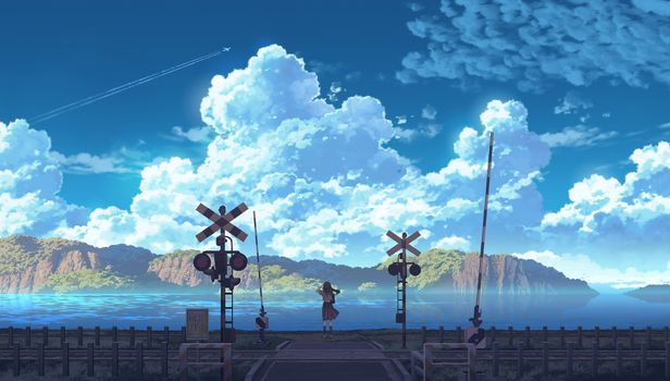 Photo free anime girl, train station, clouds