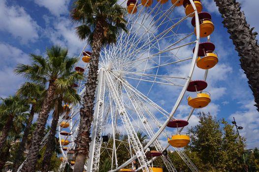 Фото бесплатно колесо обозрения, пальмы, облака