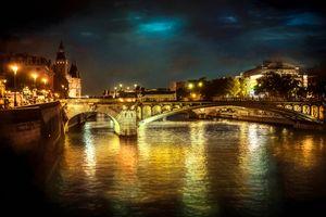 Фото бесплатно Seine River, иллюминация, ночного