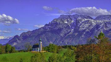 Фото бесплатно Зальцбург, природа, сельская местность, Bavaria, Земля Берхтесгаденер-Ланд, горы, небо, часовня, пейзаж
