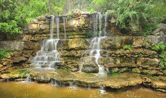 Заставки Zilker Park waterfall, водопад, скалы