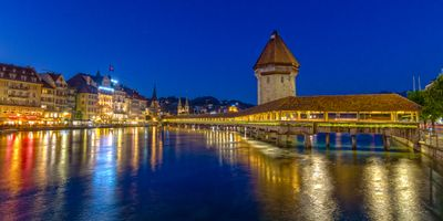 Photo free Lucerne, panorama, night
