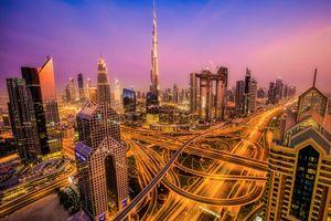 Фото бесплатно Ночной город, Дубай, ОАЭ ночь