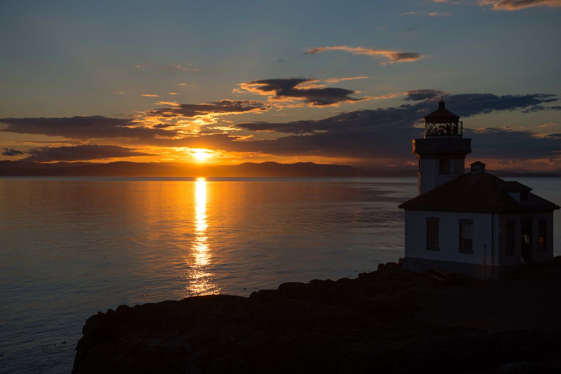 Фото бесплатно Маяк, закат, океан - на рабочий стол