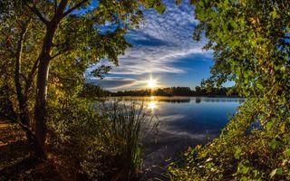Фото бесплатно озеро, закат, небо