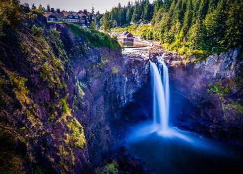 Бесплатные фото Водопад Сноквалми,Snoqualmie Falls,США,пейзаж