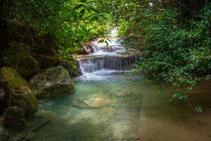 Photo free Erawan waterfall, Creek, rapids
