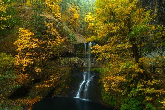 Бесплатные фото Lower South Falls,Oregon,United States,осень,лес,деревья,скалы,водопад,природа,пейзаж,осенние краски,краски осени