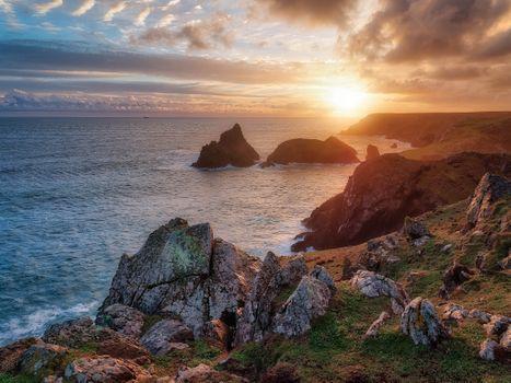 Бесплатные фото Полуостров ящерица,National Trust Lizard Point,Корнуолл,залив,Лизард Поинт,Великобритания,закат,море,пейзаж