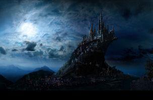 Фото бесплатно фантастический замок, закат, сумерки