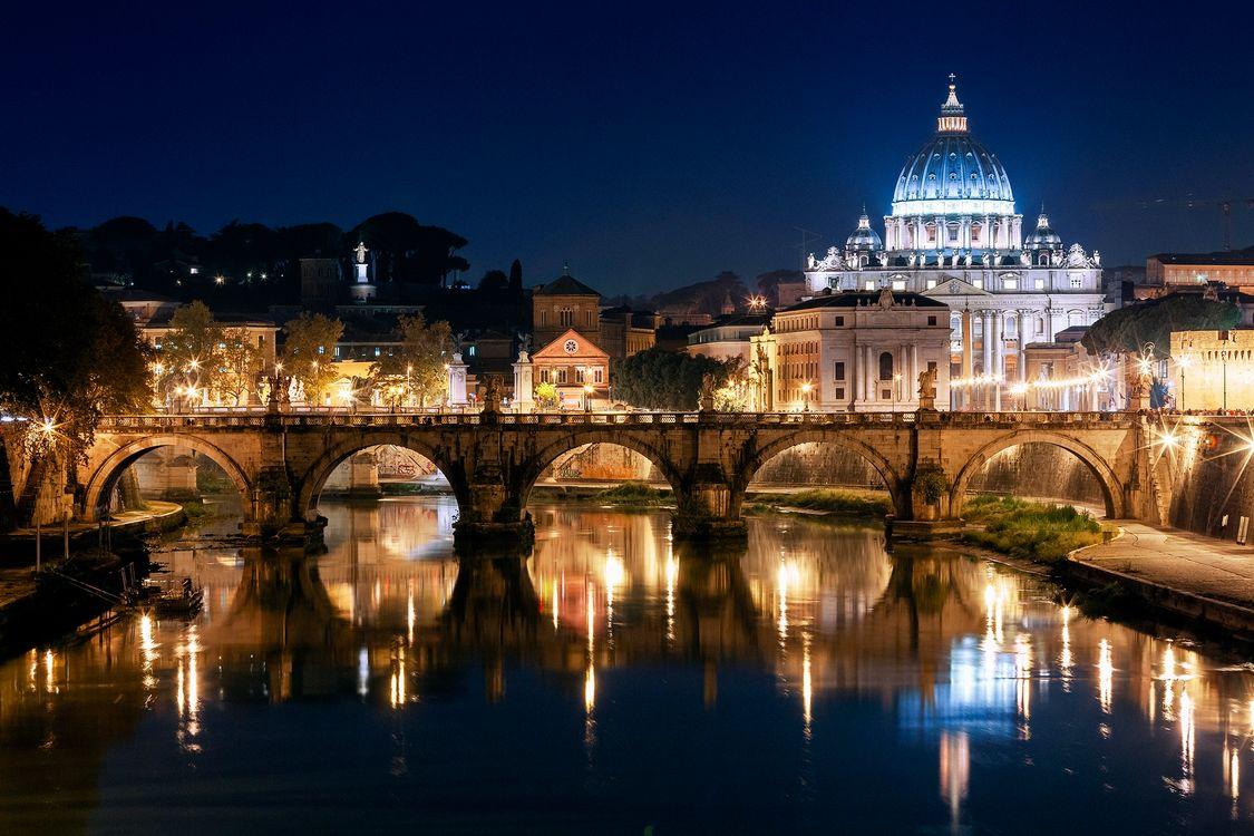 Фото бесплатно Ночь, Базилика Св Петра, Рим, Италия - на рабочий стол
